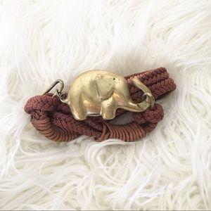 "Vintage 70s Elephant Buckle Hippy Rope Belt 30"""